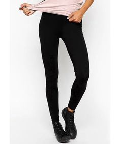 Brief Elastic Waist Solid Color Skinny Leggings For Women