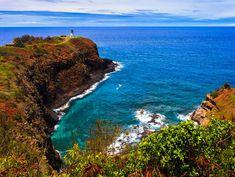 Lighthouse bay and blue sea, Kilauea, Kauai