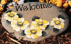 Welcome  painted stepping stone