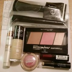 Face Makeup Bundle Contour Kit Foundation Brushes Bundle of makeup, all brand NEW and NEVER USED except the blush, which was only swatched once. Retail prices listed: Maybelline contour kit $11 Dream bouncy blush $7 Revlon Colorstay foundation in shade 150 $10 Photoready concealer $8 Elf brushes $3 each Lumi primer $13 L'oreal lipstick $6  If foundation isn't your color I can swap it for a different one. Just ask, we'll arrange something!  Happy to bundle but no trades please! All fantastic…