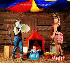 kids three ring circus photoshoot