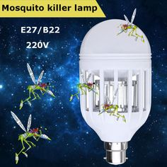 AC220V E27 B22 7W LED Mosquito Bug Zapper Light Bulb Flying Insects Moths Killer Lamp Mosquito Killer, Anti Mosquito, Bug Zapper, Lamp Bulb, Led Lamp, Flying Insects, Holiday Lights, Led Flashlight, Strip Lighting