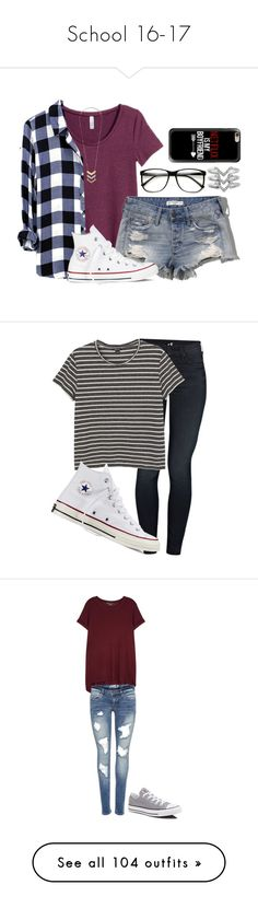 """""""School 16-17"""" by arielkmm ❤ liked on Polyvore featuring tops, t-shirts, med red, red v neck t shirt, short sleeve t shirts, v neck tee, short sleeve tops, short sleeve v-neck tee, H&M and Abercrombie & Fitch"""