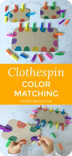 Montessori Inspired Clothespin Color Matching Fine Motor Skills Activity viaClothespin color matching is one of my daughter's favorite activities at age 3 and 4 years. It's a great way to exercise fine motor skills while practicing Chinese character recog Motor Skills Activities, Toddler Learning Activities, Montessori Activities, Infant Activities, Fine Motor Skills, Preschool Activities, Free Preschool, Color Activities For Toddlers, Nursery Activities