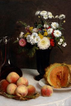 Henri Fantin-Latour 'Still Life with a Carafe, Flowers and Fruit' 1865 by Plum leaves Henri Fantin Latour, Painting Still Life, Still Life Art, Art Floral, Google Art Project, Still Life Flowers, Western Art, Still Life Photography, Art Pages