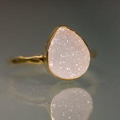 Druzy Ring - Druzy Agate Ring - Drusy ring - Drussy Bezel Set Ring -Gemstone ring Mother's Day Gift. $66.00, via Etsy.