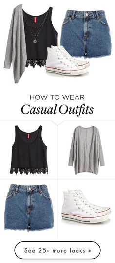 """Casual Summer Outfit"" by evrmorefanatic on Polyvore featuring H&M, LC Lauren Conrad, River Island and Converse"