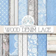 "Denim Digital Paper: "" Wood Denim Lace"" with wood, lace, blue jeans, denim backgrounds, denim scrapbook paper for invitations, cards #woodtexture #shabbychic #lace #denim #planner #wedding #partysupplies #digitalpaper #scrapbookpaper #romantic #distressedwood"