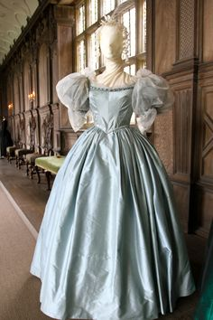 Jane Eyre Costume Exhibition at Haddon Hall. One of Blanche Ingram's evening dresses.