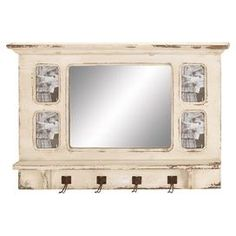 "Weathered wood wall mirror and rack with four hooks and four photo inserts.    Product: Wall mirrorConstruction Material: Wood and mirrored glassColor: CreamFeatures:Holds four picturesFour hooksDimensions: 22"" H x 34"" W x 4"" D"