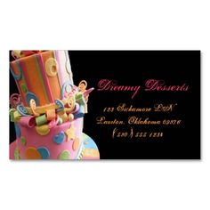 bakery,cake,business card,fun,yummy,colorful,cute. Make your own business card with this great design. All you need is to add your info to this template. Click the image to try it out!