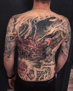Chronic Ink Asian Tattoo Chinese Japanese dragon x monkeyking - - Japan Tattoo Design, Japanese Tattoo Designs, Japanese Sleeve Tattoos, Tribal Tattoo Designs, Japanese Mask, Japanese Dragon, Traditional Japanese Tattoos, Asian Tattoos, Tattoo Videos