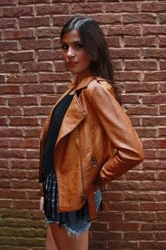 Cognac Vegan Leather Moto Jacket