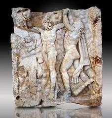 Promethus freed by Hercules.  Roman relief sculpture. Aphrodisias Turkey.