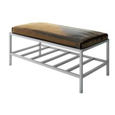 "Everly Quinn Ahumada Leather Storage Bedroom Bench Color: Silver, Size: 22"" H x 48"" W x 24"" D, Upholstery: Brown"