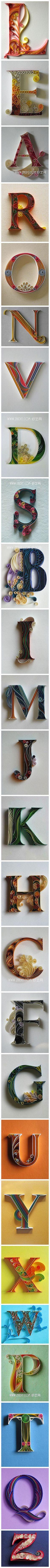 手工 折纸 DIY 衍纸 衍纸字母欣赏: