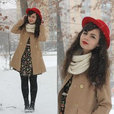 Red Hat, Infinity Scarf, Over Coat, Apple Dress, Boots