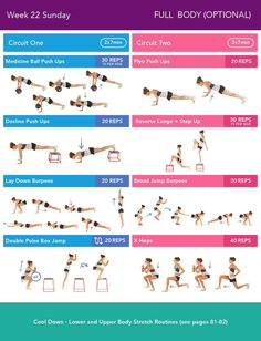 Week 22 Sunday  Bikini Body Guide 2.0 by Kayla Itsines, weeks 13-24 (complete)