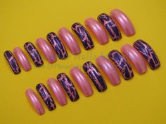 Excited to share the latest addition to my #Etsy shop: 20 Full Well Long Square Nails Pink Iridescence with Alternating Purple Crackle http://etsy.me/2irgPqL #EtsySeller #NailArt #GlamourNailsbyLeda #PressOnNails #HandPainted
