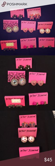 Betsey Johnson Earring Set 8 pairs of Betsey Johnson earrings - in perfect condition!! Worn 1x or 2x each - so cute!!😌😌 feel free to ask to purchase individually as well! 😊 Betsey Johnson Jewelry Earrings