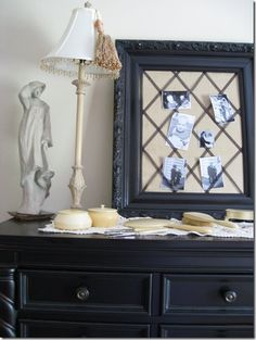 Could wrap a canvas with burlap, criss-cross ribbon on tip & leave off the frame....great idea!