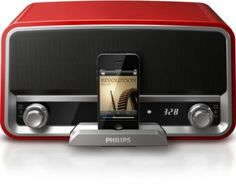 Philips ORD7100R/37 Original Radio 30-Pin Charging Speaker Dock for iPod/iPhone (Red)