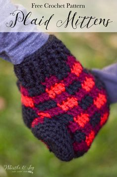 FREE Crochet Pattern: Crochet Plaid Mittens - Make these cozy mittens, made with bulky-weight yarn so they are thick and warm and work up fast.