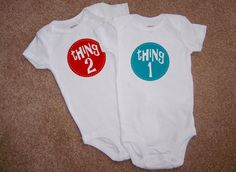Twins Thing 1 and Thing 2  Graphic Baby by mindybeckerdesign, $35.00