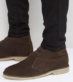 ASOS Wide Fit Desert Boots in Brown Suede - Brown