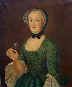 Portrait Dame à la rose Ecole Française du début du XVIIIème siècle