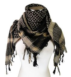 775d72793fd Amazon.com  Premium Shemagh Head Neck Scarf - Black Camel  Clothing