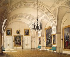 Interiors of the Winter Palace. The Small Fieldmarshals' Hall - Edward Petrovich Hau - Drawings, Prints and Painting from Hermitage Museum