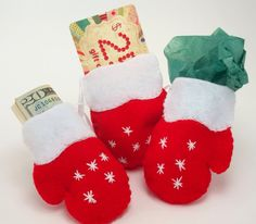 Cute Gift Card Holder ornament Red Mitten