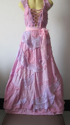 vintage inspired shabby chic bohemian gypsy dress in pastel pinks and lilacs.. ..... $85.00, via Etsy.