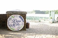 Personalized signs for welcoming guests at the ceremony for destination beach wedding in the Philippines. || Seen on: http://www.jetfeteblog.com/asia/beach-destination-wedding-philippines || Photos by: http://www.nezcruz.com/