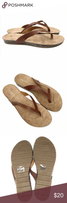 Esprit Cognac Lee Flip Flops- New You'll look boho chic with these easy slip-on y-shaped thongs. They literally go with everything! Smooth man-made lining. Lightly padded footbed. Synthetic midsole with a faux cork wrap. Man-made outsole. Imported. Brand new with tags! ESPRIT Shoes Sandals