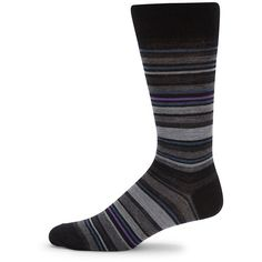 Saks Fifth Avenue Wool Blend Striped Socks ($6.49) ❤ liked on Polyvore featuring men's fashion, men's clothing, men's socks, purple, mens striped socks, mens purple socks, mens patterned socks and mens socks