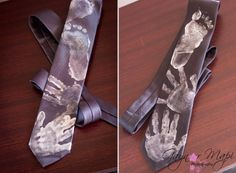 My divas hand and feet print on a tie for a pressie for her grandfather for father's day