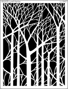 bare trees stencil - plan to embroider the black part on the white cotton