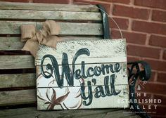 Welcome Y'all 11x15 hanging sign by TheEstablishedPallet on Etsy