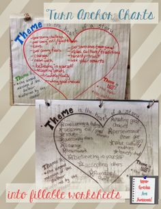 Upper Grades Are Awesome: Reading Workshop - Turn Anchor Charts into Fillable Worksheets Teaching Themes, Teaching Writing, Teaching Tips, Theme Anchor Charts, Reading Anchor Charts, Reading Lessons, Reading Skills, Reading Logs, Reading Strategies