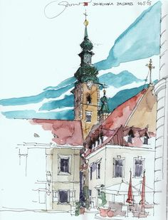 Maria in Zagreb, by Jochen Schittkowski Pen And Watercolor, Watercolor Landscape, Watercolor Paintings, Travel Sketchbook, Art Sketchbook, Urban Sketchers, Canada Vancouver, Pen And Wash, Watercolor Architecture
