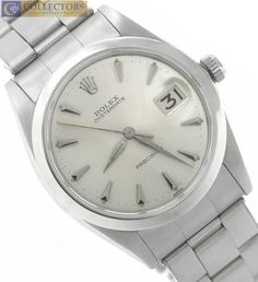 Men's Vintage Rolex Oysterdate Precision 6694 Stainless Silver 34mm Date Watch