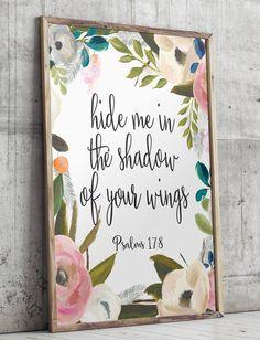 Wall art Bible Verse Art Printable Scripture decor Psalm 17:8