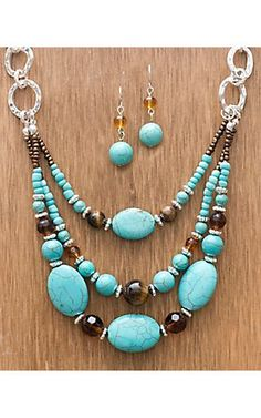 I can easily duplicate this look. (M Western Products® Semi Stone Turquoise Beaded Set | Cavender's Boot City)
