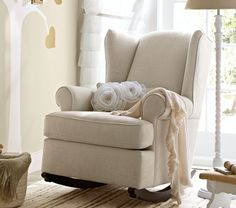 Wingback Rocker | Pottery Barn Kids -What color would go good with a yellow/white/gray/black/blue/purple room?...