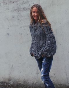 Pull gris, pull gris pull surdimensionné chunky chunky chandail ample gris