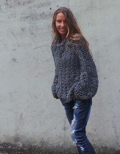 Grauer Pullover grau Damen klobige übergroße Pullover klobige graue slouchy Pullover Pullover