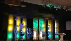 After Easter Sunday we took the letters down and added two additional panels.  These panels slide in front of the drums after worship.