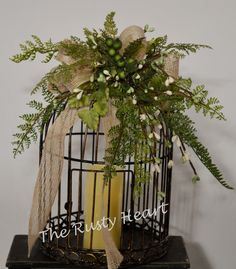 Decorated Birdcage with Battery Candle